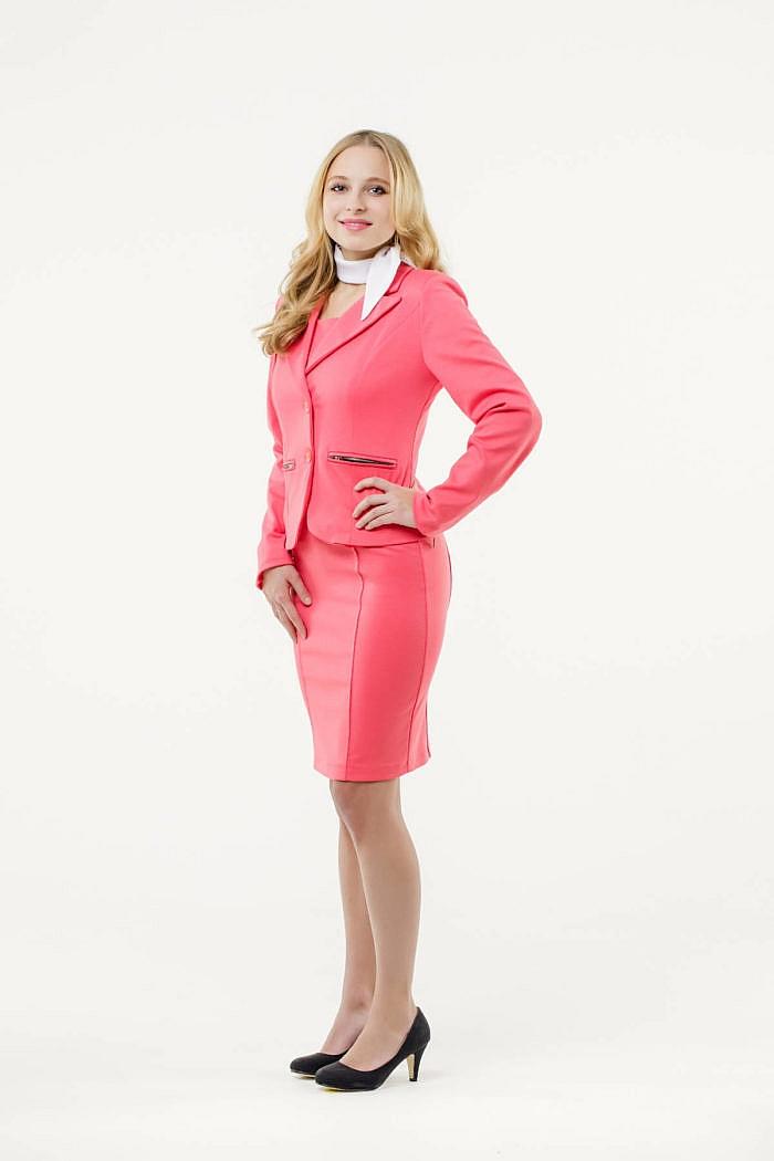 Mietkleidung Damen Businesskleidung mieten leihen online Damenkostüm Blazer Hostessenkostüm Halstuch weiß