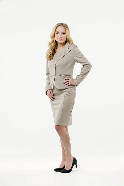 Mietkleidung Damen Businesskleidung mieten leihen online Damenkostüm Blazer Hostessenkostüm beige