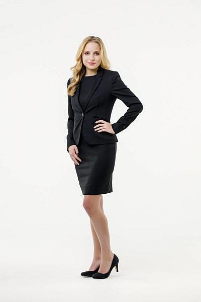Mietkleidung Damen Businesskleidung mieten leihen online Damenkostüm Blazer Hostessenkostüm schwarz